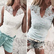 Fashion Sleeveless V-neck Lace Spliced Solid Color T-shirt