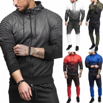 Fashion Color Gradient Long Sleeve Hooded Men's Sports Suit