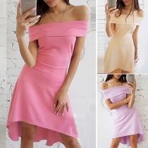 Sexy Off-shoulder Boat Neck High-low Hem Solid Color Dress