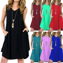 Fashion Solid Color Sleeveless V-neck Loose Dress
