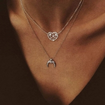 Fashion Hollow Out Heart Crescent Pendant Duoble-layer Necklace