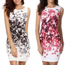 Fashion Sleeveless Round Neck Slim Fit Printed Dress