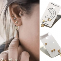 Retro Style Crescent Arrow Shaped Stud Earring Set 4 pcs/Set