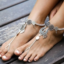 Retro Style Hollow Out Carving Alloy Anklet