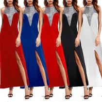 Sexy Backless Slit Hem Sequin Spliced Halter Dress