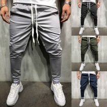 Hip-hop Style Solid Color Drawstring Waist Men's Casual Pants