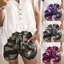 Fashion Camouflage Printed Elastic Waist Casual Shorts