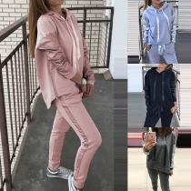 Fashion Solid Color Long Sleeve Drawstring Hooded Shirt + Slim Fit Casual Pants Two-piece Set