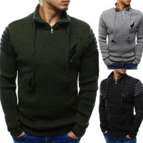 Fashion Solid Color Long Sleeve Stand Collar Ripped Men's Sweater