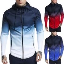 Fashion Color Gradient Long Sleeve Hooded Men's Sweatshirt Coat