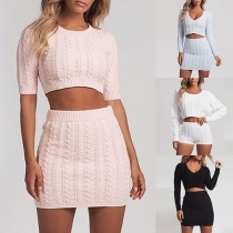 Sexy V-neck Half Sleeve Knit Ctop Top + High Waist Knit Skirt Two-piece Set