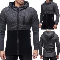 Fashion Contrast Color Long Sleeve Zipper Multi Pockets Men's Hooded Sweatshirt
