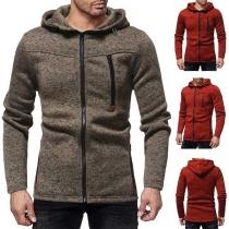 Fashion Solid Color Long Sleeve Side Pockets Men's Hooded Sweatshirt