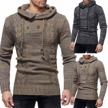 Fashion Cowl Neck Long Sleeve Embroidered Men's Knitted Sweater