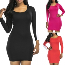 Fashion Contrast Color Long Sleeve Round Neck Tight Dress