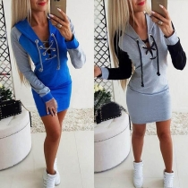 Fashion Contrast Color Long Sleeve Lace-up V-neck Hooded Dress