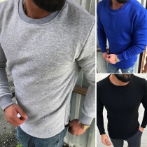 Fashion Solid Color Long Sleeve Round Neck Men's Sweatshirt