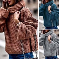 Fashion Solid Color Long Sleeve Turtleneck Sweater (It falls small)