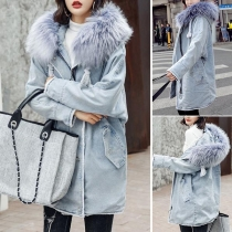 Fashion Long Sleeve Faux Fur Spliced Hooded Denim Coat