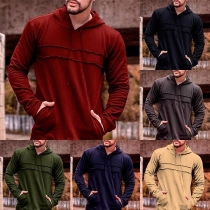 Fashion Solid Color Long Sleeve Men's Casual Hoodie