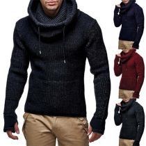 Fashion Solid Color Cowl Neck Long Sleeve Men's Knitted Sweater