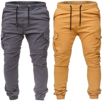 Fashion Solid Color Side-pocket Drawstring Waist Men's Casual Pants