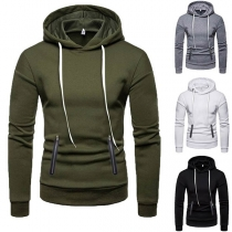 Fashion Solid Color Long Sleeve Zipper Pocket Men's Hoodie