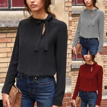 Fashion Solid Color Long Sleeve Lace-up Round Neck Blouse