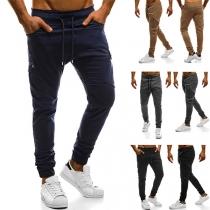 Fahsion Solid Color Elastic Waist Irregular Pockets Men's Pants