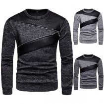 Fashion Contrast Color Long Sleeve Round Neck Men's Sweatshirt