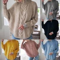 Fashion Solid Color Dolman Sleeve Arc Hem Sweater