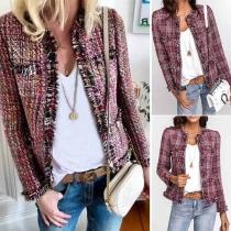 Fashion Round Neck Open Front Frayed Trim Long Sleeve Tweed Coat