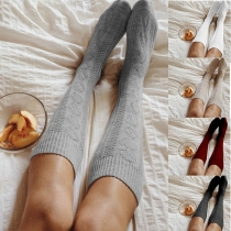 Fashion Solid Color Knee-length Knit Socks