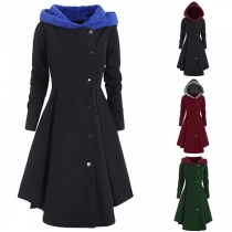 Fashion Contrast Color Long Sleeve Hooded Coat