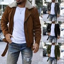 Fashion Long Sleeve Faux Fur Collar Slim Fit Men's Jacket