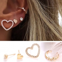 Fashion Rhinestone Inlaid Heart Shaped Stud Earring Set 4 pcs/Set