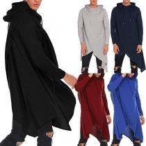 Fashion Solid Color Long Sleeve Irregular Hem Hooded Men's Sweatshirt