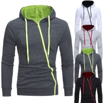 Fashion Contrast Color Long Sleeve Oblique Zipper Men's Hooded Sweatshirt