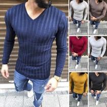 Fashion Solid Color Long Sleeve V-neck Men's T-shirt