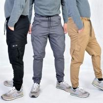 Fashion Solid Color Side-pocket Men's Casual Pants