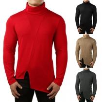 Fashion Solid Color High Neck Long Sleeve Irregular Slit Hemline Men's Sweater