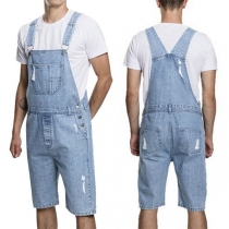 Fashion High Waist Ripped Relaxed-fit Men's Denim Overalls