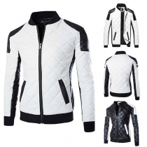 Fashion Contrast Color Long Sleeve Stand Collar Men's PU Leather Coat