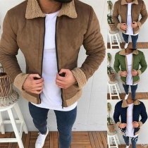Fashion Solid Color Long Sleeve Plush POLO Collar Men's Coat
