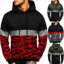 Fashion Contrast Color Camouflage Printed Men's Hoodie