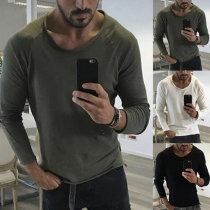 Simple Style Long Sleeve Round Neck Solid Color Men's T-shirt
