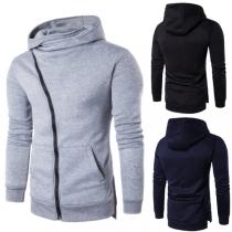 Fashion Solid Color Oblique Zipper Long Sleeve Slim Fit Side Pockets Men's Hooded Sweatshirt