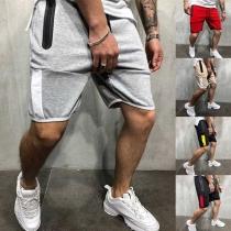 Fashion Contrast Color Knee-length Men's Sports Shorts