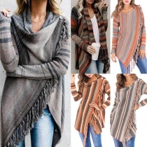 Sweet Contrast Color Long Sleeve Striped Tassels Knitted Coat