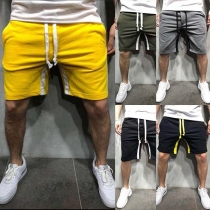 Fashion Contrast Color Drawstring Waist Men's Sports Shorts